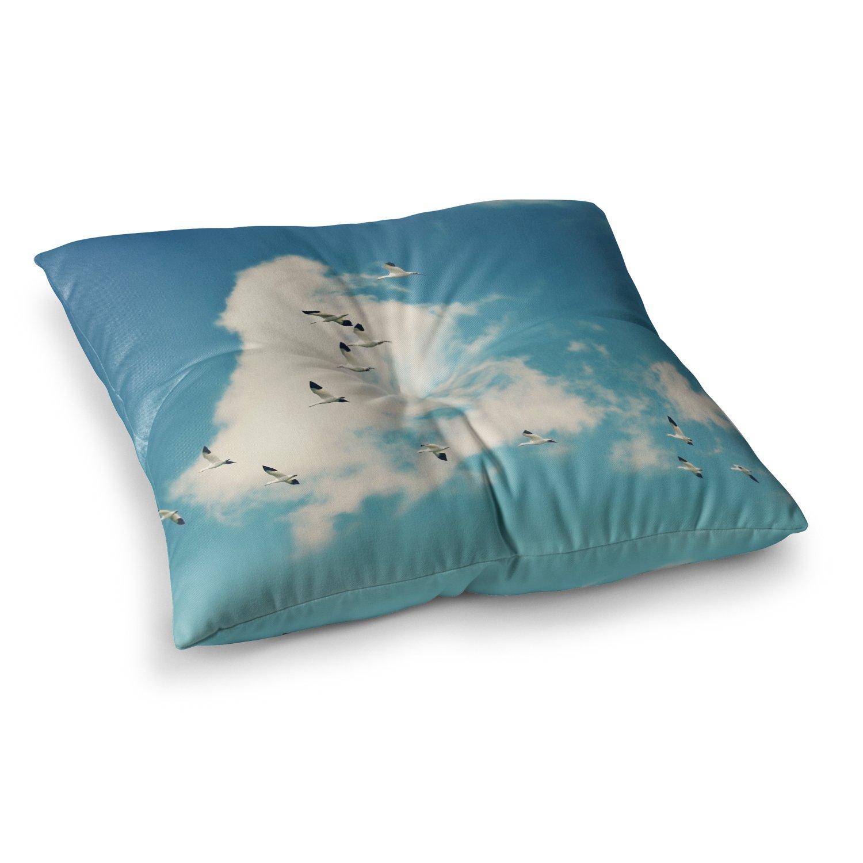 23 x 23 Square Floor Pillow Kess InHouse Sylvia Cook Snow Geese Blue White