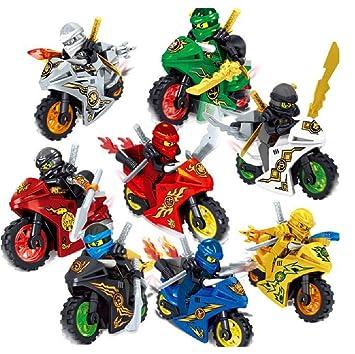 Ninjago Motocicleta Ninga 8 Piezas Set Mini Figuras: Amazon ...