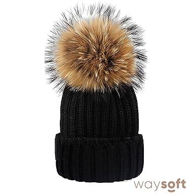 2a745936d59 WaySoft Mother-Child Matching Genuine Fur Pom Pom Beanie - Pom Pom Hat with  Genuine Pom Poms at Amazon Women s Clothing store