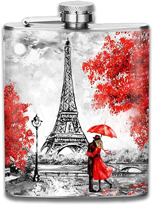 Amazon Com Smallhan Oil Painting Paris European City Landscape France Wallpaper Eiffel Tower Black White And Red Good Quality 304 Stainless Steel Flask 7oz Home Kitchen