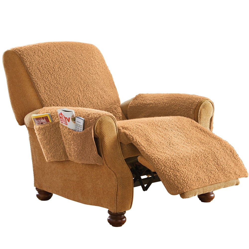 Fleece Recliner Furniture Protector Cover with Pockets, Brown Collections Etc FBA_25601 BRWN