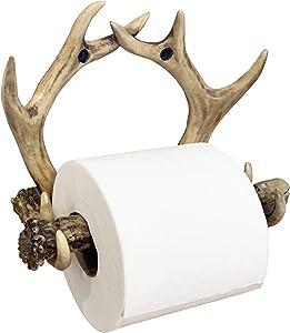 Rustic Deer Antler Wall Mounted Toilet Paper Holder - Bathroom Decor