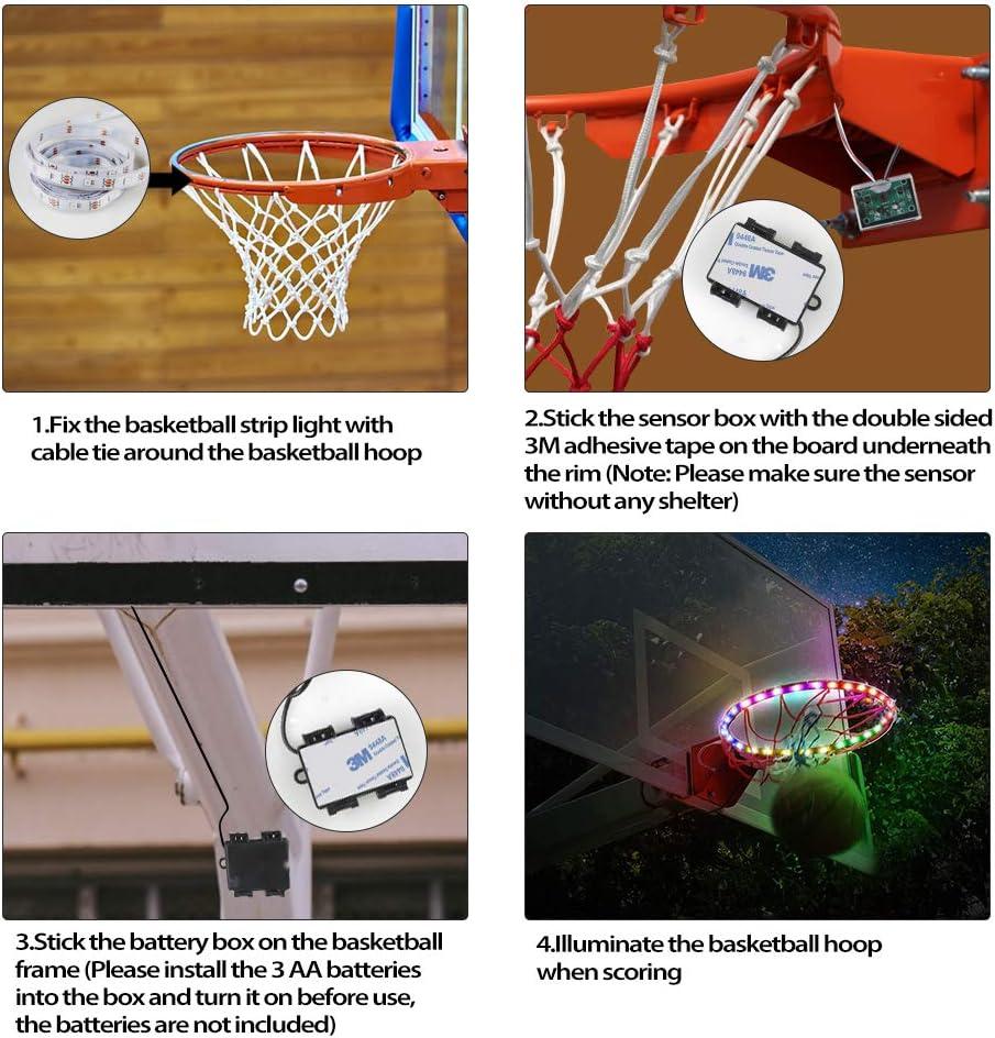 LED Hoop Light Solaire Basketball Jante Light Shooting Accessoire pour enfants adultes nuit basketball entra/înement Viitech LED Basketball Hoop Lights
