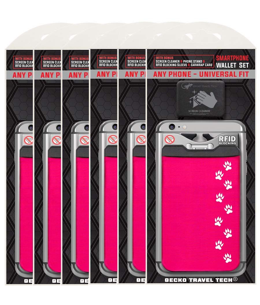 A 6 Pack Card Holder by Gecko - Phone Wallet Stick on - Credit Card Holders for iPhone and Cell Phone - Cat Paw Pink x6