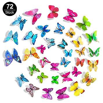 3D Schmetterlinge Aufkleber, Mopoin 72 Stück Wandtattoo Schmetterling  Wanddeko Abziehbilder Schmetterlinge Wandsticker für Wohnung,  Raumdekoration ...
