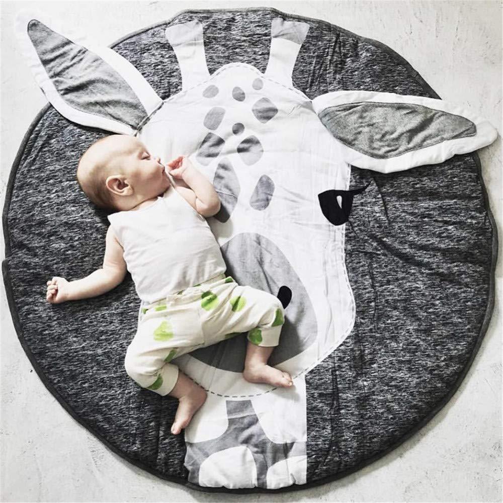 Abreeze Kids Nursery Rug Play Mat Round Carpet Cartoon Giraffe Design Home Room Decor 35X37 inches
