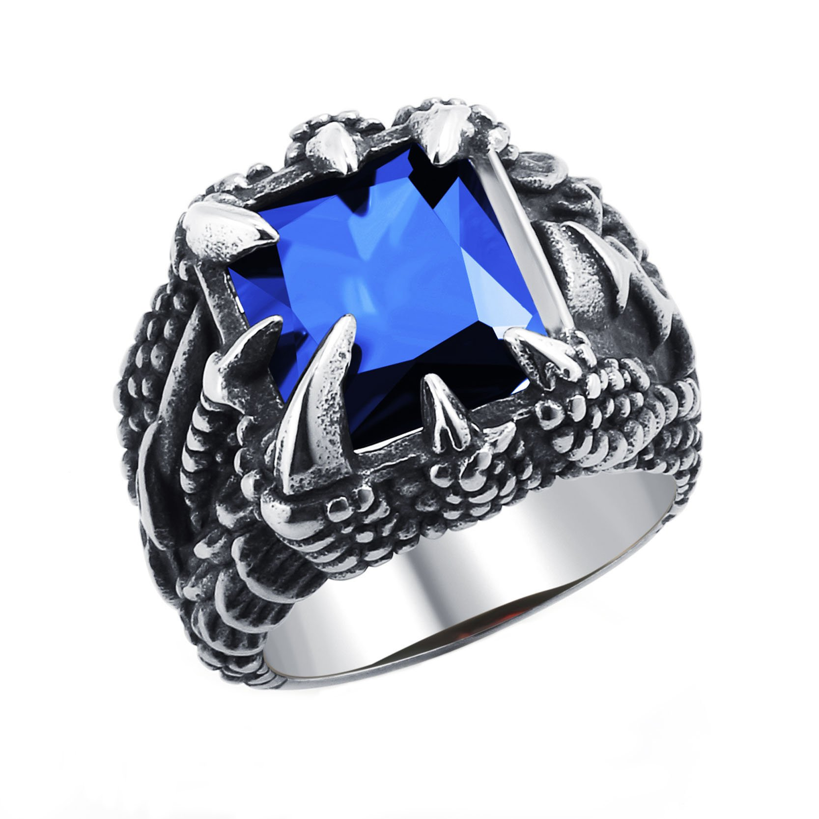 Dragon Claw Ring Dark Blue Crytsal Stainless Steel Gothic Ring for Boys Birthday Gift Size 10