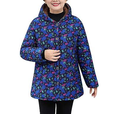 7b78b1ab9db Mom Grandma Best Gift ! RNTOP Plus Size Retro Floral Print Hooded Pockets  Warm Plush Coat for Winter at Amazon Women s Clothing store