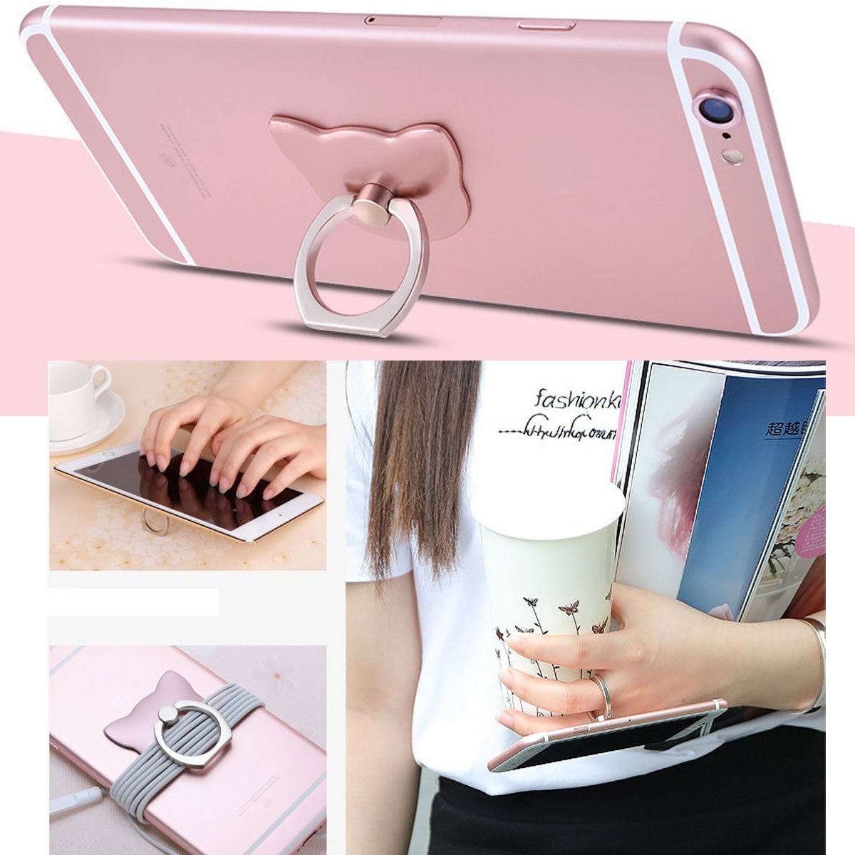 Rabbit Rose gold Phone ring holder //cell phone mount stand 2 Pieces,metal finger grip stand holder ring,car mount for iPhone 6s plus 7// Samsung Galaxy S7 edge HTC Nokia Smartphones Tablet phone ring