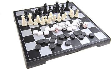 Quantum Abacus Juego de Mesa magnético 3-en-1 (tamaño de Viaje): Ajedrez, Damas, Backgammon - Piezas magnéticas, Tablero Plegable, 20cm x 20cm x 2cm, Mod. SC24810 (DE): Amazon.es: Juguetes y juegos