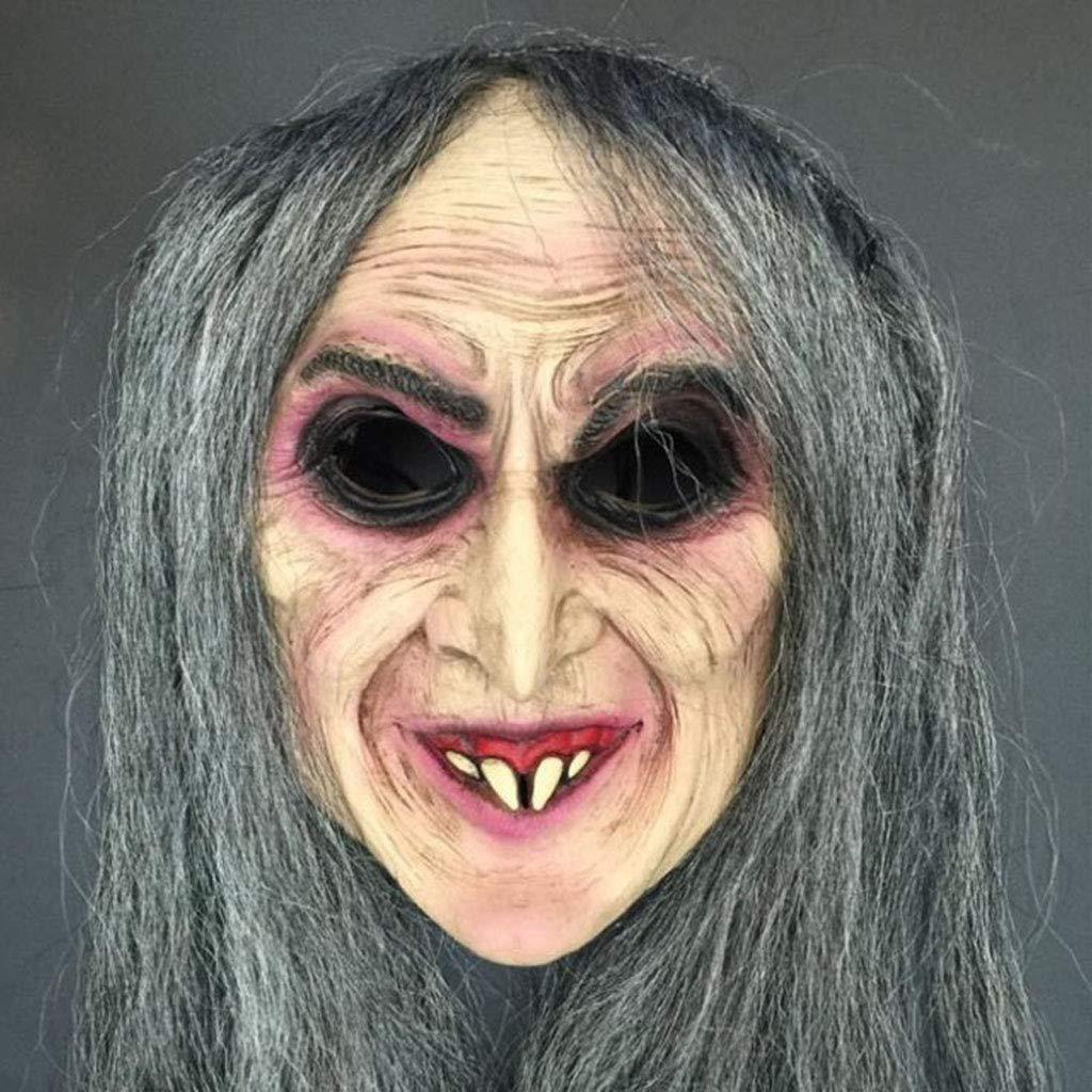 Xiaodu Halloween-Maske Horror-Hexe Maske Lange Haare Hexe Horror Party Holiday Requisiten C9
