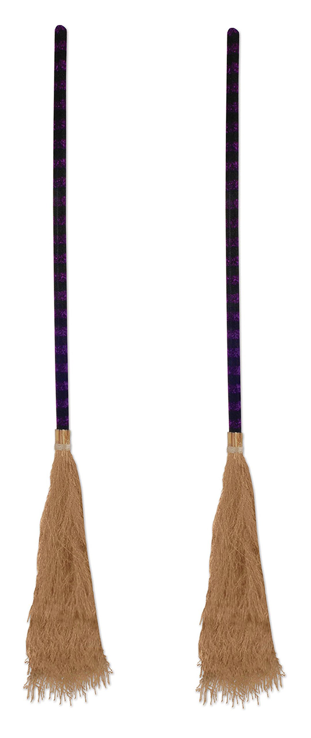 Beistle S00827AZ2 Witch's Brooms 2 Piece, Black/Purple/Tan by Beistle