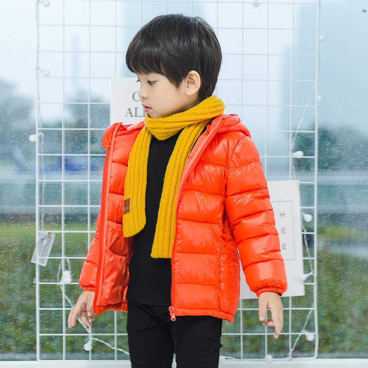 Baby Cute Christmas Puffer Coat Winter Warm Zipper Outerwear Windproof Down Jacket with Bear Hood for 1-5 Years