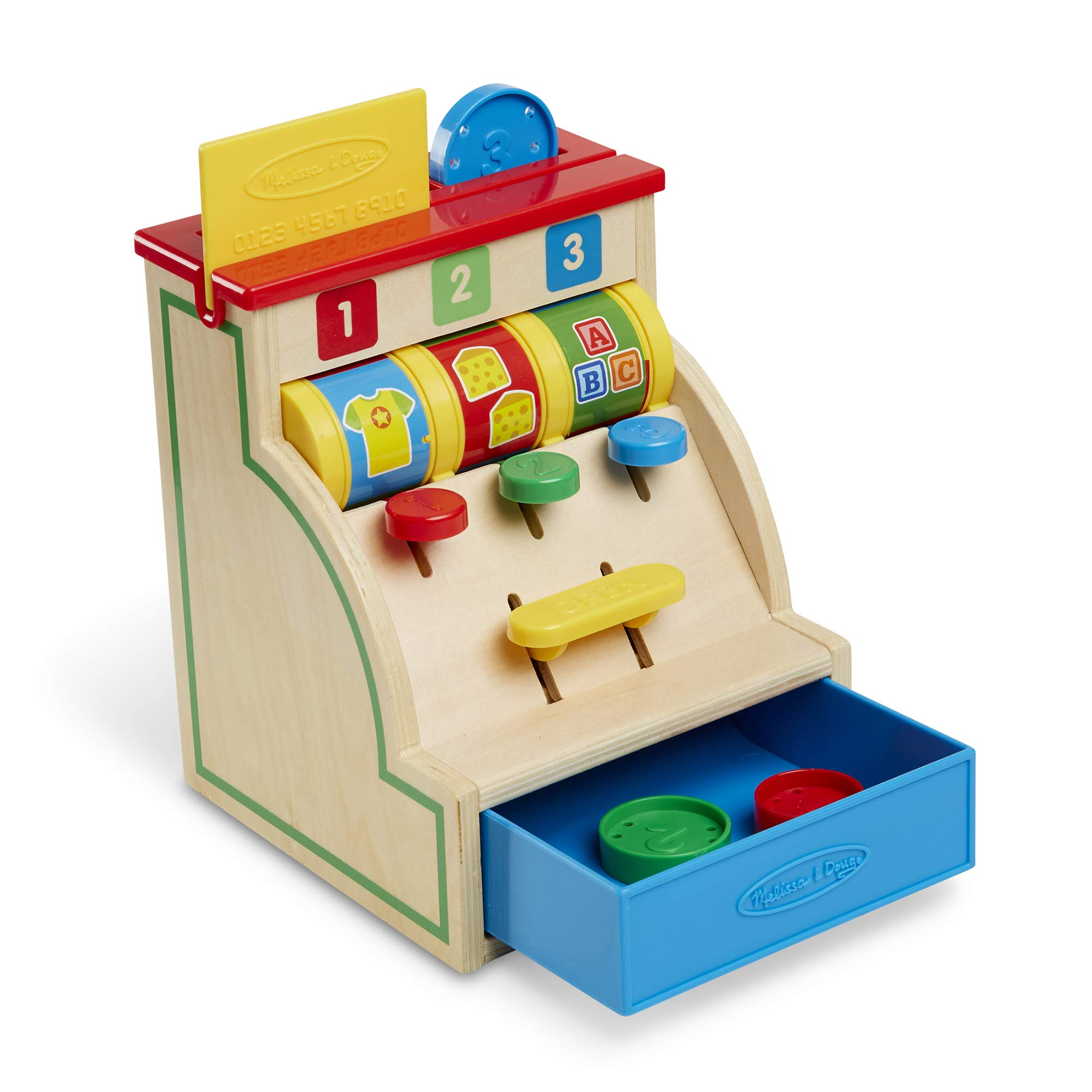 Melissa & Doug Spin & Swipe Wooden Cash Register (Developmental Toy, Great Gift for Girls and Boys - Best for 3, 4, 5, and 6 Year Olds) by Melissa & Doug