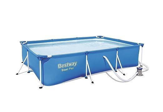 Bestway 56411 - Piscina Desmontable Tubular Infantil Bestway Deluxe Splash Frame Pool (300 x 201 x 66 cm) con depuradora de cartucho