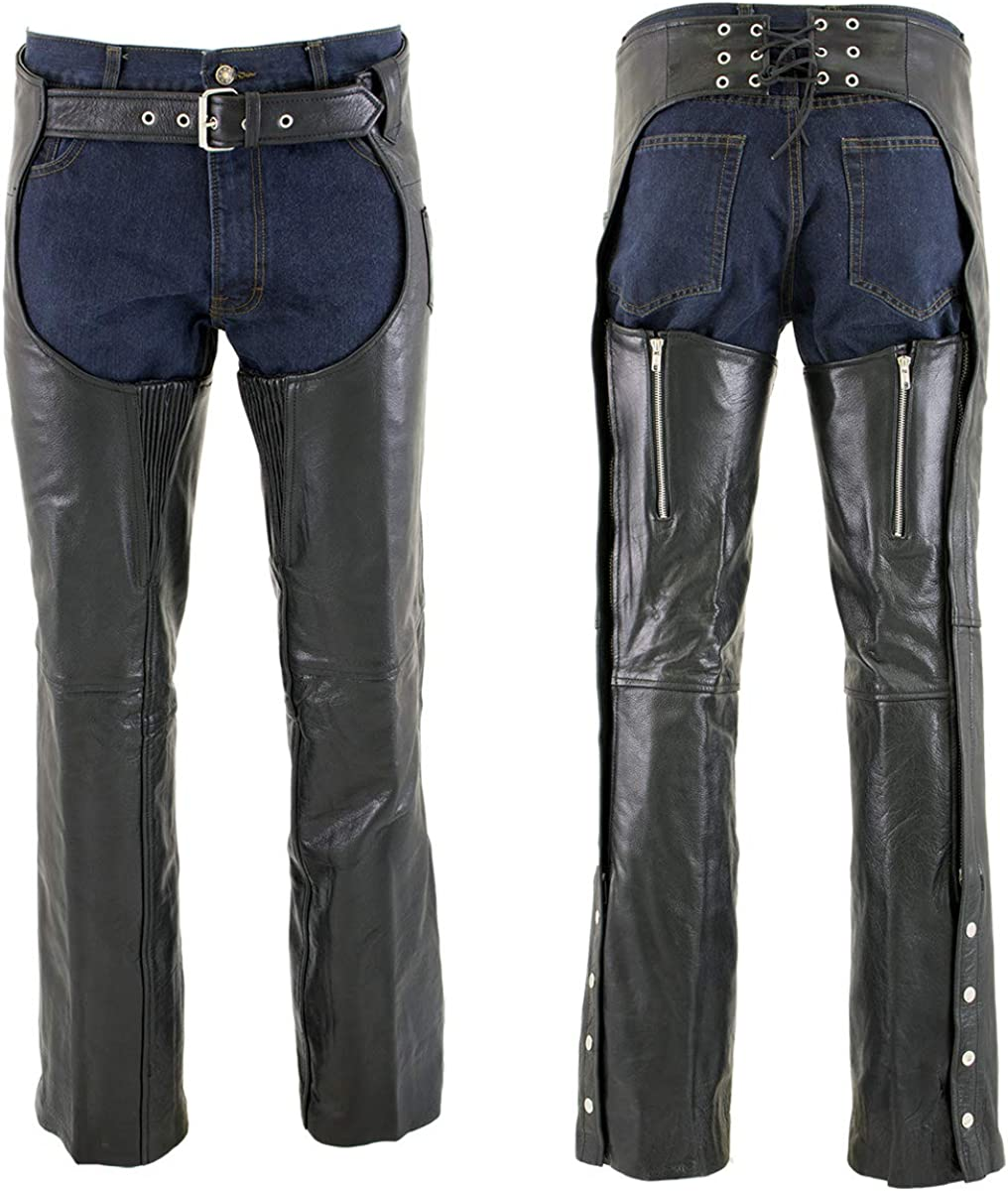 Xelement 7554 Mens Black Advanced Dual Comfort Leather Chaps