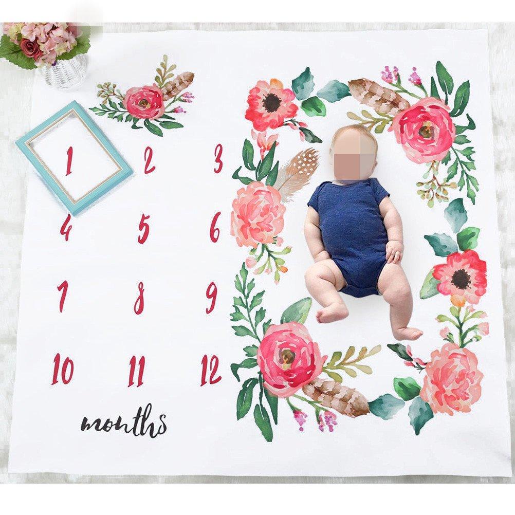 OULII Baby Fotografie-Decke Baumwolle Meilenstein Decke Neugeborenen Dusche Geschenke