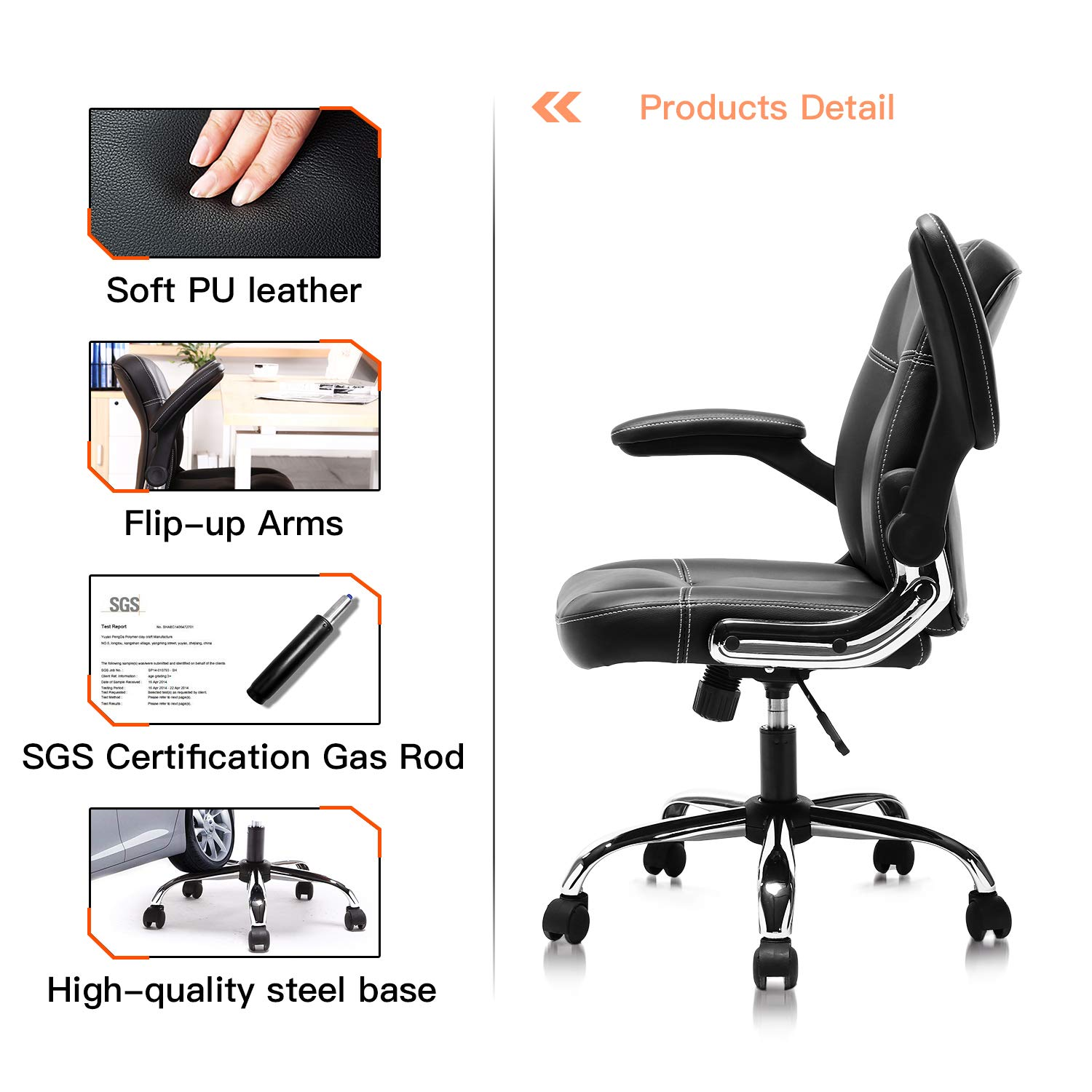 Mykas Ergonomic Leather Executive Office Chair High Back Computer Chair with Upholstered Armrest Brown