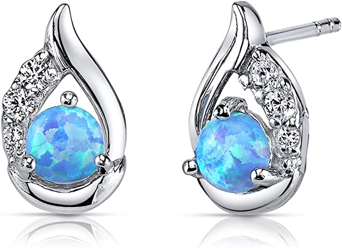925 OPAL ROUND EARRINGS STERLING SILVER BLUE CABOCHON SHAPED STUD