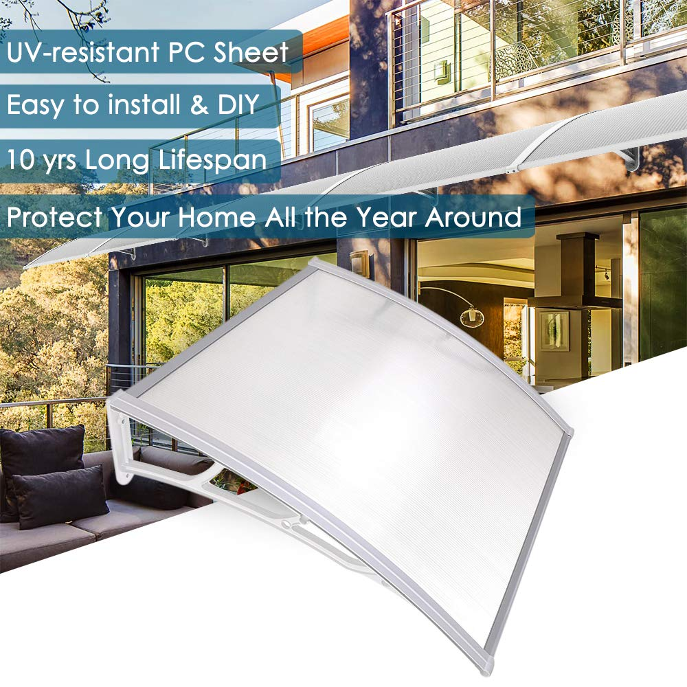 Yescom 39x39'' Outdoor Door Window Awning Canopy Patio Cover Rain Snow Protection One-Piece Polycarbonate Hollow Sheet