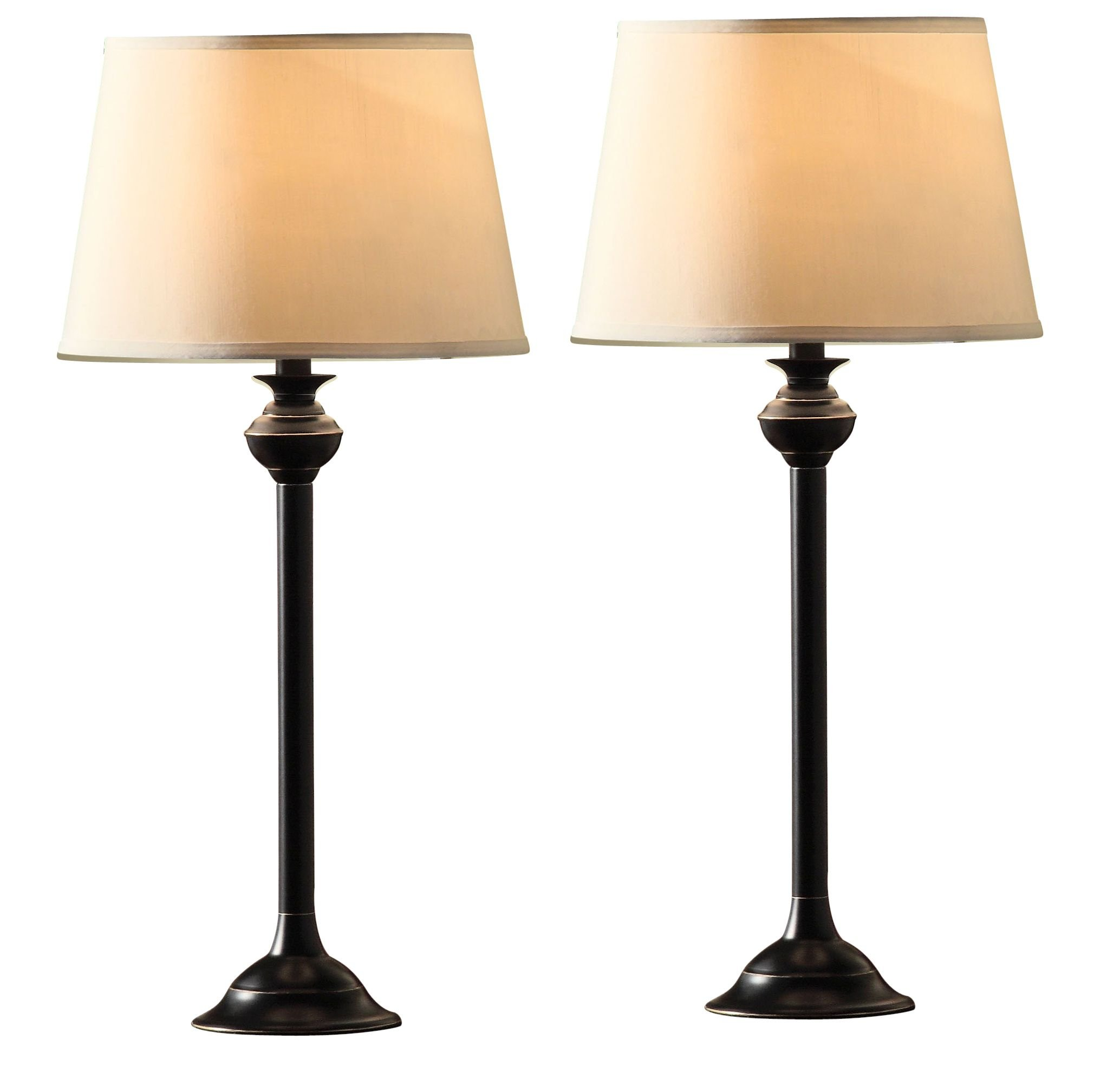 Catalina Lighting 18079-001 Traditional 3-Piece Metal Floor & Table Lamp Set with Linen Shades, Without Bulb, Black Classic by Catalina Lighting (Image #3)
