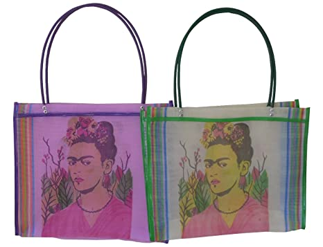 Bolsa de la compra Frida Kahlo Folk Art de botellas de plástico recicladas