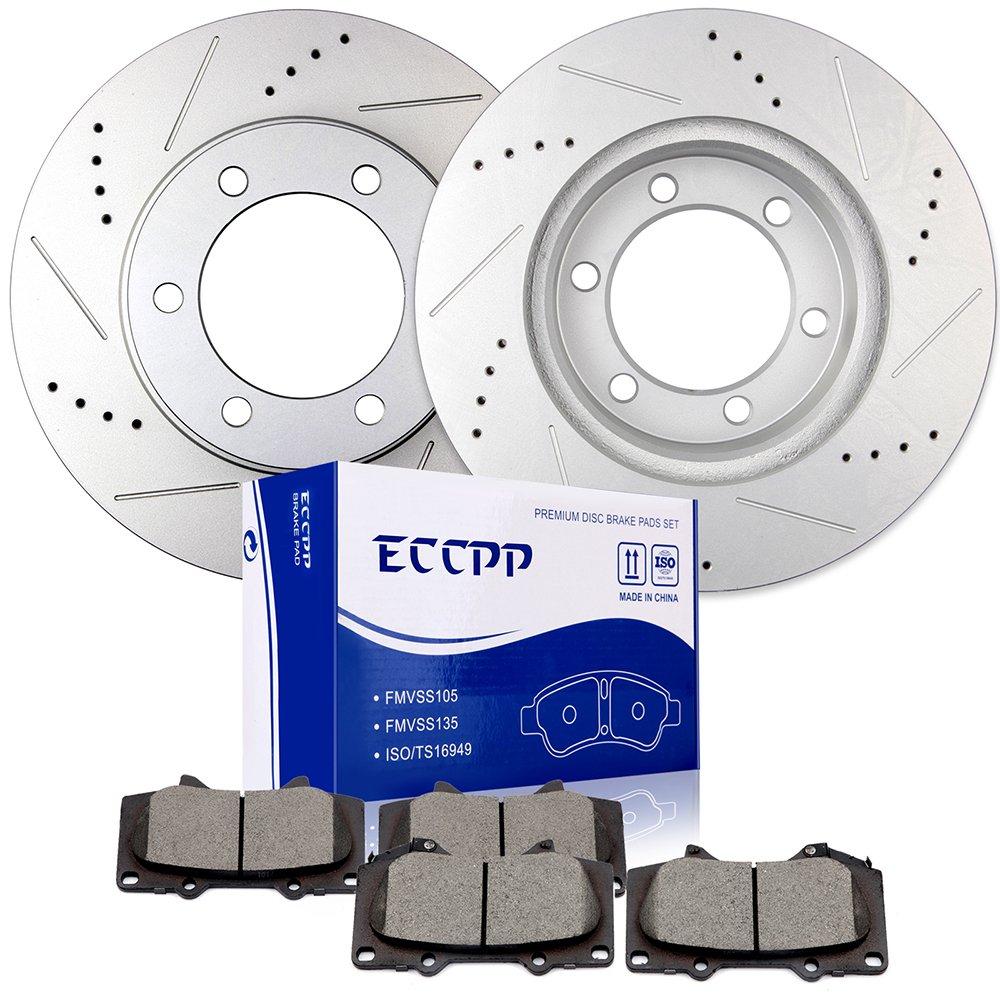 Brake Rotors Brakes Pads Kits,ECCPP 2pcs Front Discs Brake Rotors and 4pcs Ceramic Disc Brake Pads Set fit for 2003-2007 Toyota Sequoia,2000-2006 Toyota Tundra