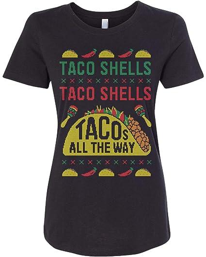 1fc6d74cc Amazon.com: Threadrock Women's Taco Shells Taco Shells Tacos All The Way  Fitted T-Shirt: Clothing