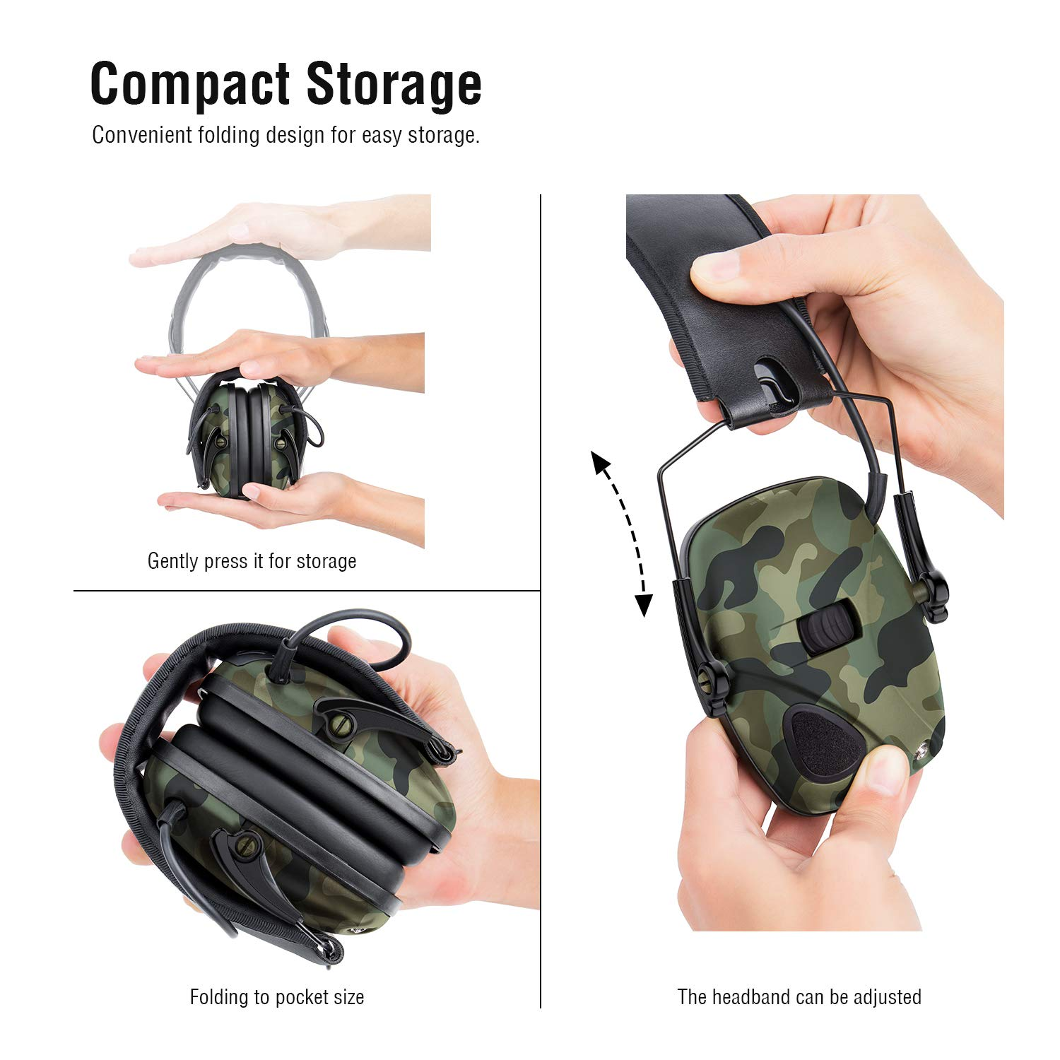 Awesafe Electronic Shooting Earmuff, Awesafe GF01 Noise Reduction Sound Amplification Electronic Safety Ear Muffs, Ear Protection, NRR 22 dB, Ideal for Shooting and Hunting … Camon by awesafe  (Image #4)