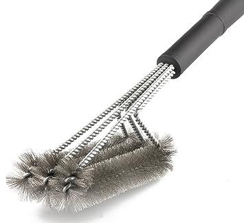 """amzdeal – Cepillo para barbacoa 3 en 1 inoxidable cepillos de acero, 18 """""""