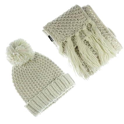 Libby en tricot pour femme Chapeau et écharpe Ensemble avec lurex Flocons  d avoine  07c93738dee