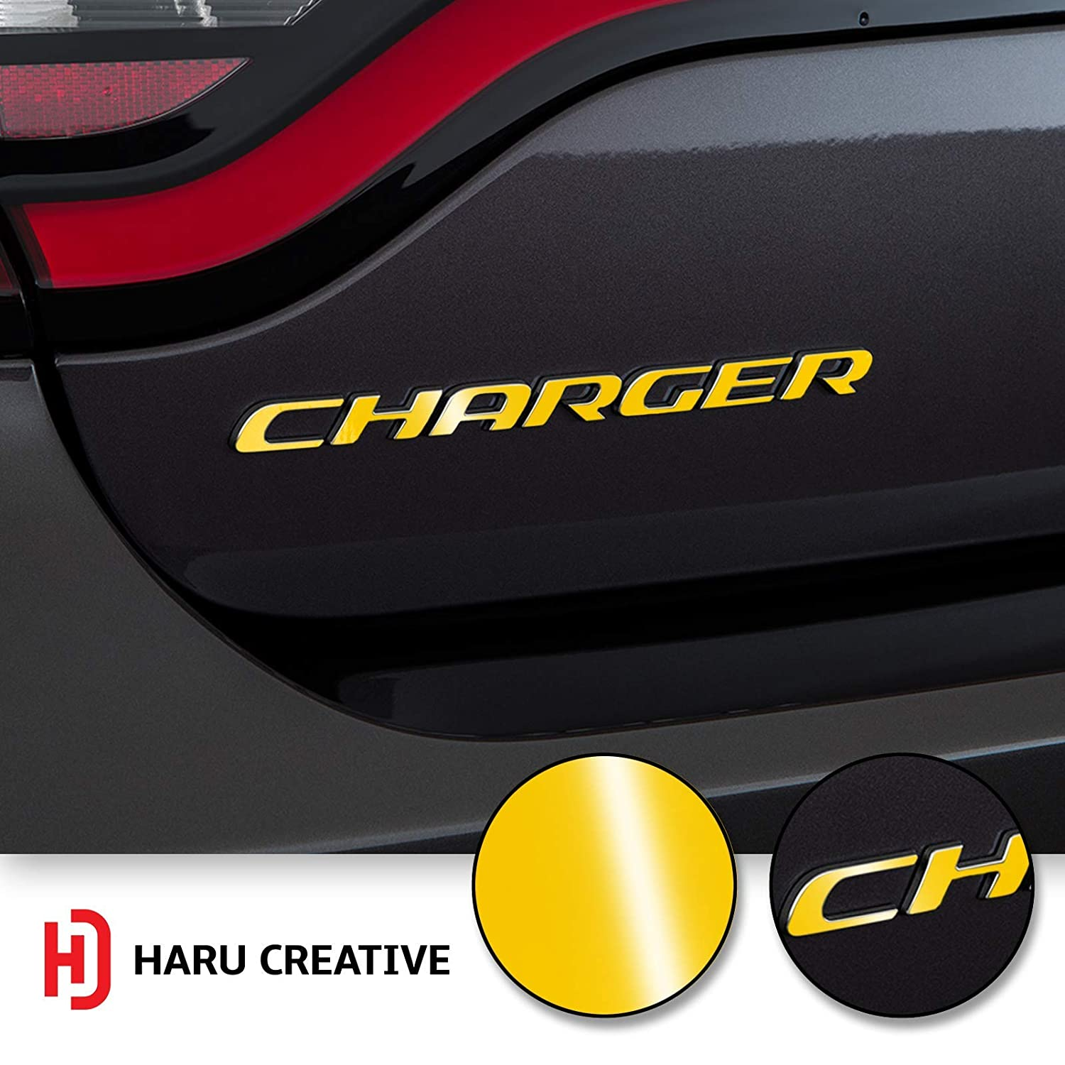 Haru Creative Rear Bumper Trunk Emblem Overlay Vinyl Car Decal Sticker Compatible with and Fits Dodge Charger 2015 2016 2017 2018 2019 Gloss Yellow