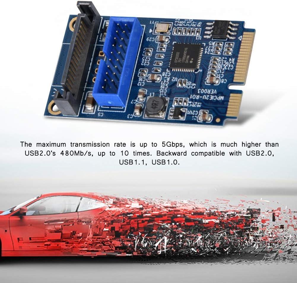 hudiemm0B Extender Card Mini PCI-E to 2Port USB 3.0 19 Pin Converter Adapter Desktops Extender Card