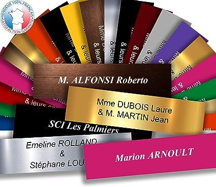 19 couleurs disponibles Jaune grav/ée /à personnaliser 6 x 1,5 cm 1 /à 2 lignes Plaque interphone ou sonnette adh/ésive
