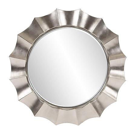 Howard Elliott Corona Round Hanging Wall Mirror, Resin Rippling Wave Design, Glossy Nickel, 41 Inch