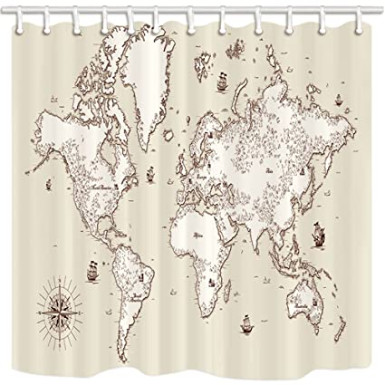 NYMB Wanderlust Bath Curtain Old World Map With Island Ship In Vintage Polyester Fabric