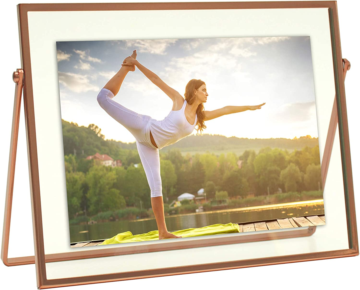 MIMOSA MOMENTS Rose Gold Metal Floating Picture Frame (Rose Gold, 5x7 Horizontal)
