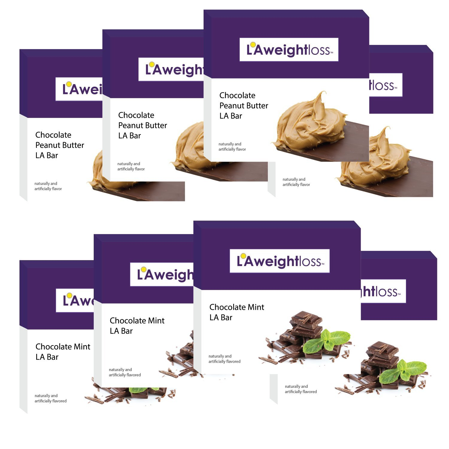 LA Weight Loss Bars - Chocolate Peanut Butter & Chocolate Mint - 8 Boxes by L A Weight Loss & Wellness (Image #9)