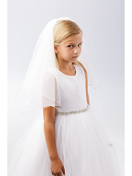 a739c0f8d Amazon.com: Girls Ivory Wire Merrow Edge Double Layer Communion Flower Girl  Veil: Clothing