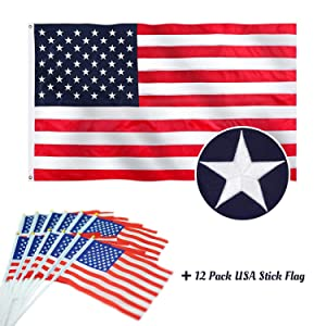 Jetlifee - American USA US Flag 2.5x4 Ft by U.S. Veterans Owned Biz. Heavyweight Nylon Embroidered Stars Sewn Stripes and Brass Grommets US Flag (2.5x4 FT)