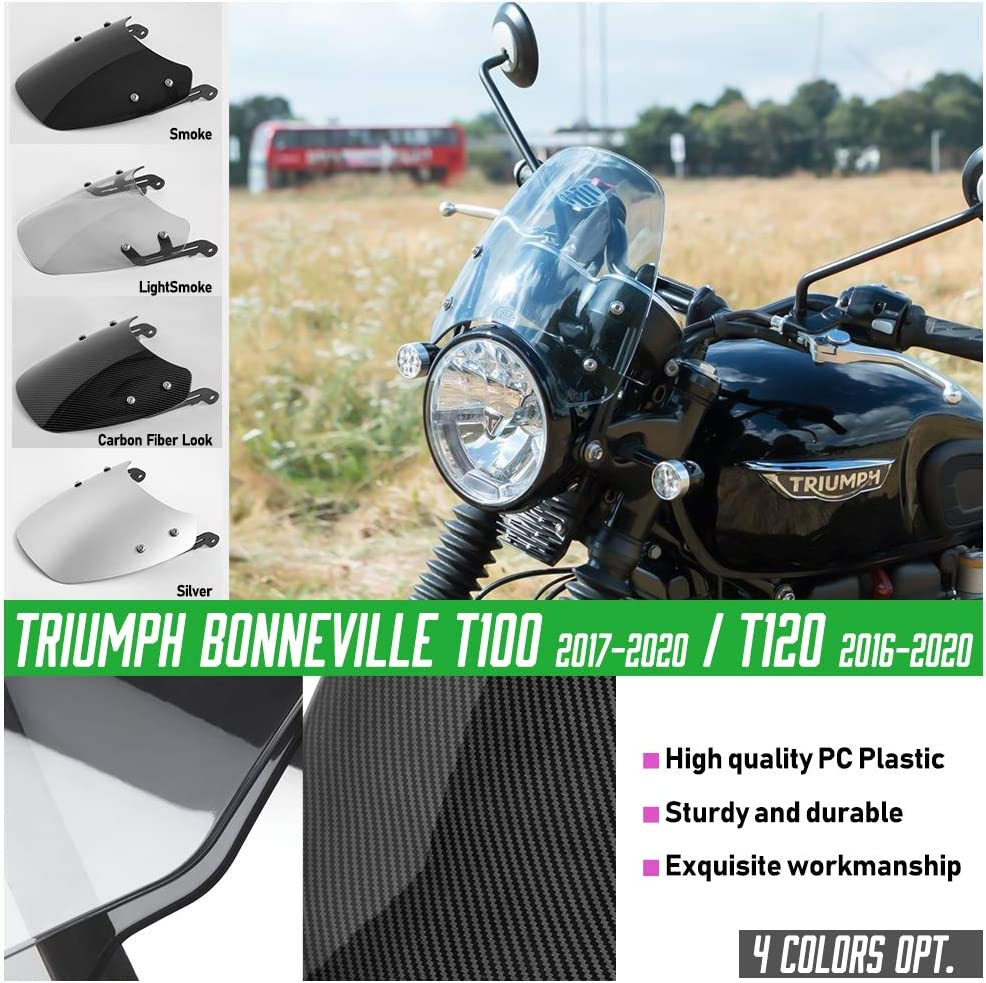 Carbon Look Motorcycle Windshield Windscreen Wind Deflectors Classic Flyscreen Fly Screen Visor Protector for 16-20 Triumph Bonneville T100 T120 Accessories 2016 2017 2018 2019 2020