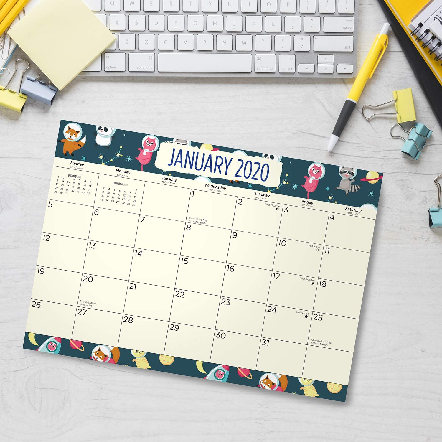 2020 Raindrops Desk Pad Office Calendar by Bright Day Cute Colorful Planner 16 Month 15.5 x 11 Inch