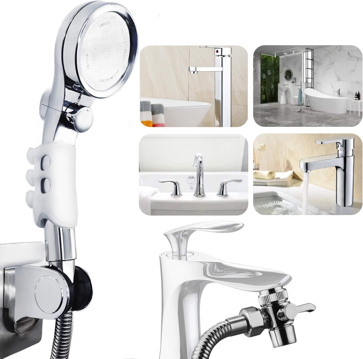 GUDWING Faucet Sprayer Attachment, High Pressure Shower Head with One Key On/Off, 5 Feet Shower Hose Quick Connect on Kitchen Bathroom Faucet Bath Tub Spout, Great for Easy Hair Washing Dog Baby Bathe