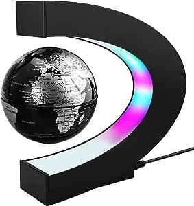 Magnetic Levitation Floating World Map Globe with C Shape Base, 3