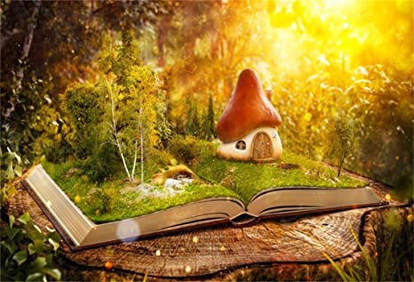 Csfoto 7x5ft Background For Wonderful Land Mushroom House Photography Backdrop An Open Book Sunshine Fantasy Magic Forest Read Study Studio Props