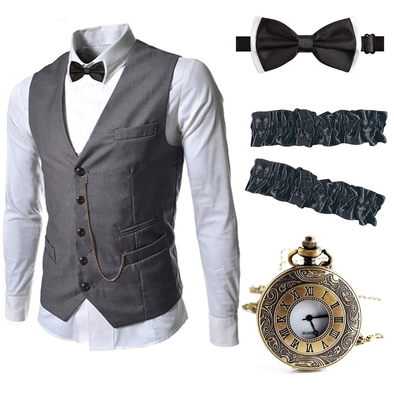 Men's Vintage Vests, Sweater Vests EFORLED Mens 1920s Accessories Gangster Vest Set - Pocket WatchArmbandsPre Tied Bow Tie $27.99 AT vintagedancer.com