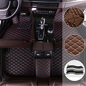 saitake Car Floor Mat for Range Rover Sport 2010-2013 All Full Coverage Liner All Weather Waterpoof Non-Slip Leather Heavy Duty Custom Front Rear Mat Left Drive Black and Red