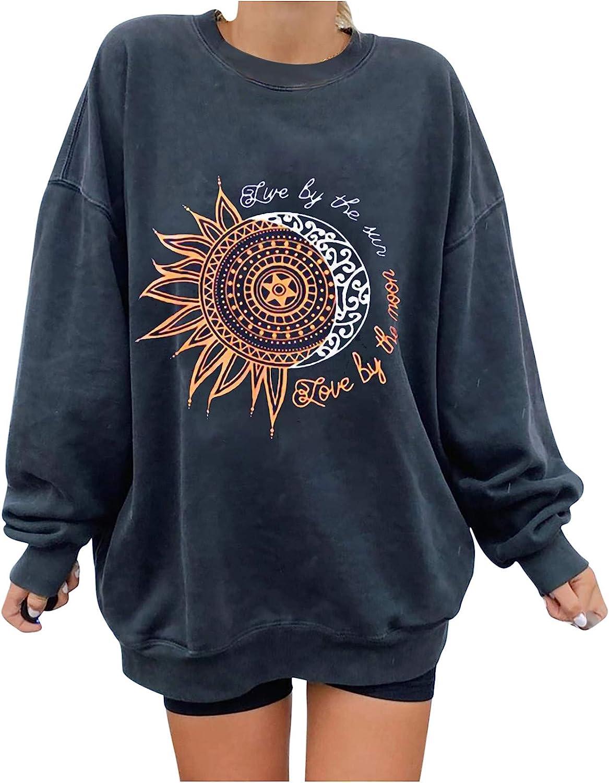 십대 소녀 태양 문 인쇄 운동복 레트로 긴 소매 탑스 CREWNECK 레저 튜닉 느슨한 블라우스