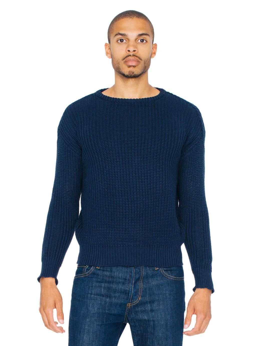 American Apparel Men's Fisherman's Pullover Sweater, Navy, Large