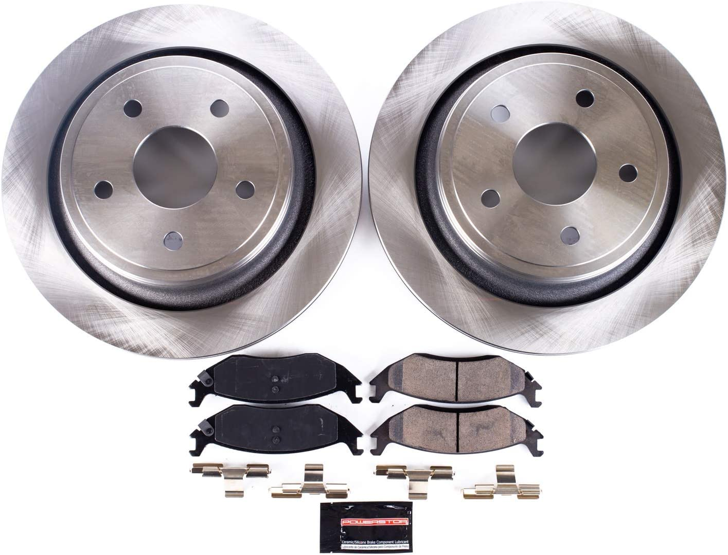 Power Stop KOE7716 Autospecailty Replacement Rear Kit-Stock Rotors and Ceramic Brake Pads